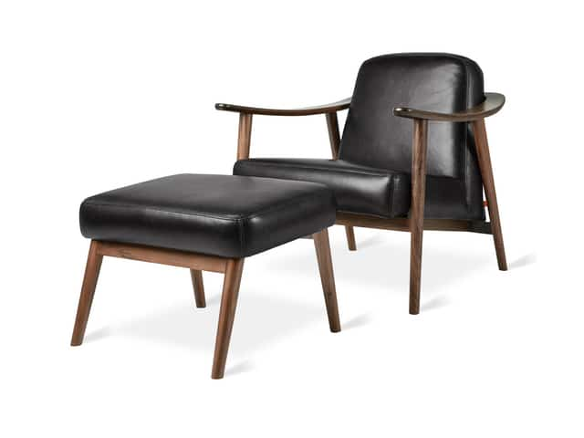 Baltic Chair & Ottoman – Saddle Black Leather & Ash Walnut – P01