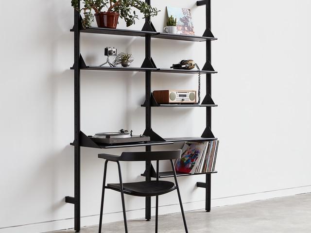 Branch-2 Shelving Unit with Desk – Black Black Black – L01 – Copy