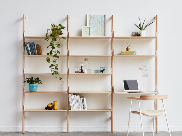 Branch-3 Shelving Unit with Desk – Blonde White Blonde – L01