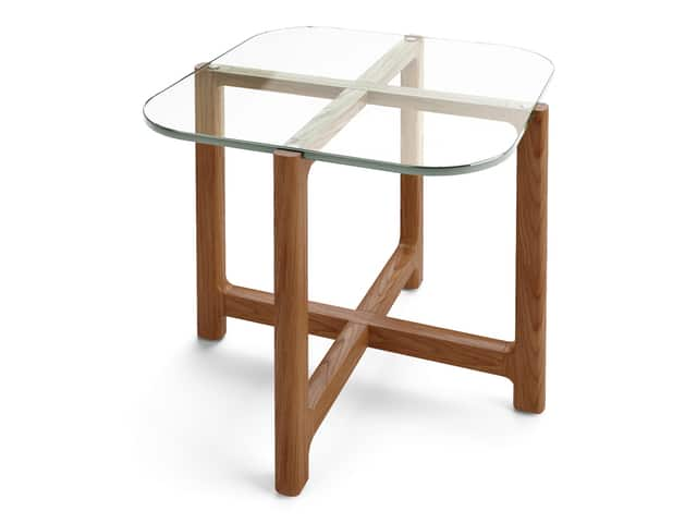 Quarry End Table – Clear Glass & Walnut – P01