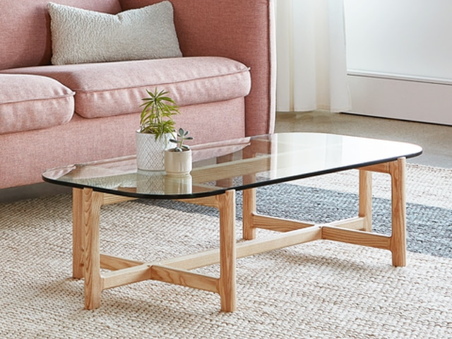 Quarry Rectangular Coffee Table – Clear Glass & Natural Ash – L01