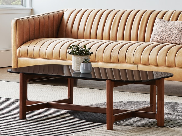 Quarry Rectangular Coffee Table – Smoke Glass & Walnut – L01