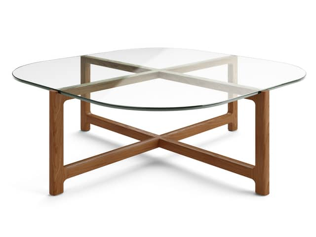 Quarry Square Coffee Table – Clear Glass & Walnut – P01